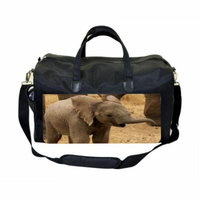 Baby Elephant Large Black Duffel Style Diaper Baby Bag