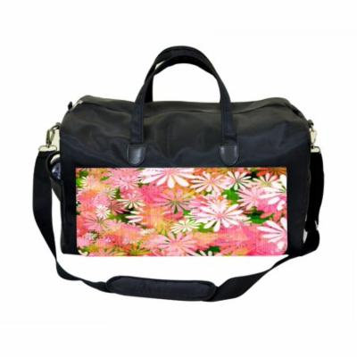 Flower Power Large Black Duffel Style Diaper Baby Bag