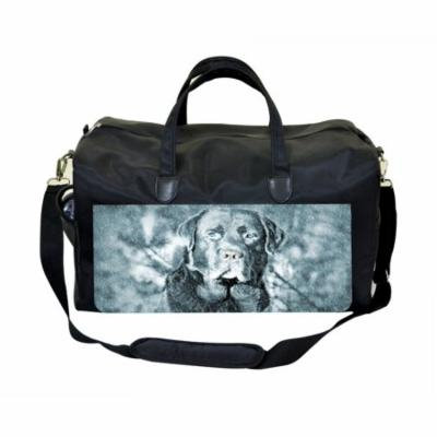 Dog In The Snow Large Black Duffel Style Diaper Baby Bag