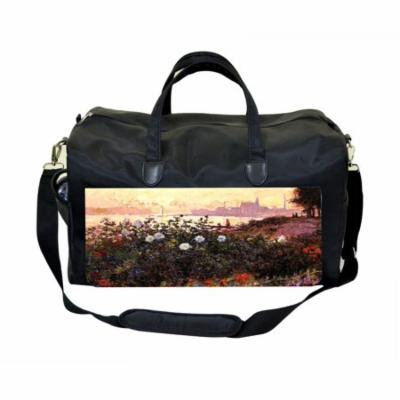 Artist Claude Monet's Argentuile Flowers By the Riverbank Large Black Duffel Style Diaper Baby Bag