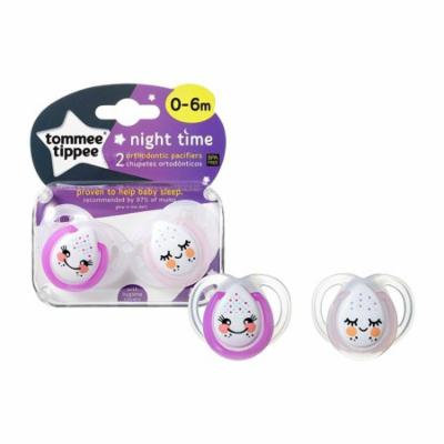 Tommee Tippee Night Time Pacifier - 0-6 Months - 2 Pack - Purple/Pink - Faces