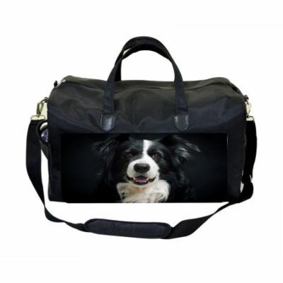 Puppy Face Large Black Duffel Style Diaper Baby Bag
