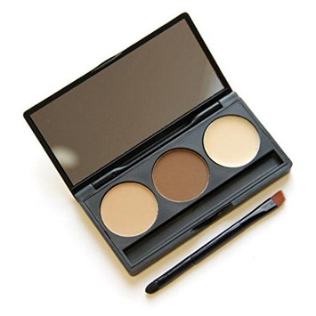 3 Color Eyebrow Stamp Powder,YOYORI Womens Brow Powder Makeup Tint Palette Shading Kit Mirror with Brush