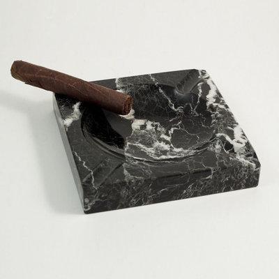 Solid Marble Cigar Ashtray, Square, Black, C303