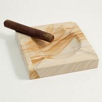 Solid Marble Cigar Ashtray, Square, Natural, C304