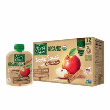 North Coast Organic Apple Sauce 12 Pk Pouches with Cinnamon 38.4 oz (Pack of 8)