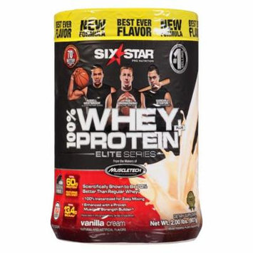 Six Star Elite Series Whey Protein+ Dietary Supplement Powder Vanilla Cream2.0 lb(pack of 4)