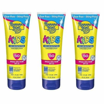 Banana Boat Kids UVA/UVB Protection Sunscreen Lotion, Broad Spectrum, SPF 50, 8 Oz (Pack of 3)