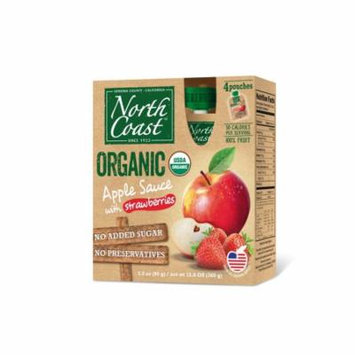North Coast Organic Apple Sauce 4 Pk Pouches With Strawberries 12.8 oz (Pack of 6)