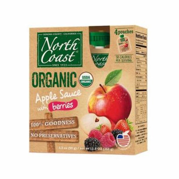 North Coast Organic Apple Sauce 4 Pk Pouches With Berries 12.8 oz (Pack of 6)