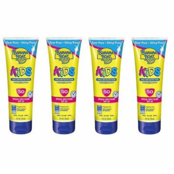 Banana Boat Kids UVA/UVB Protection Sunscreen Lotion, Broad Spectrum, SPF 50, 8 Oz (Pack of 4)