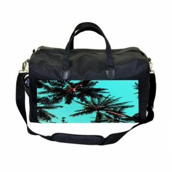Palm Trees Bottom View Print Large Black Duffel Style Diaper Baby Bag