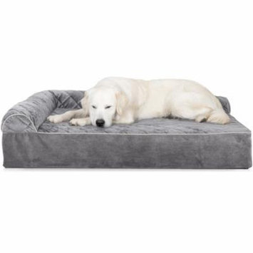 FurHaven 2XL Quilted Faux Fur & Velvet Goliath DLX L-Chaise Lounge Pet Bed Dog Bed - Gray