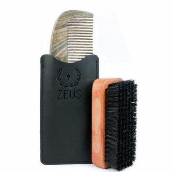 Zeus Organic Sandalwood Beard Comb + 100% Boar Bristle Beard Brush - Comb and Brush Tool Set for Men!