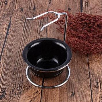Stainless Steel Shaving Brush Stand Razor Holder and Black Shaving Bowl,Stainless Steel, Black Shaving Bowl