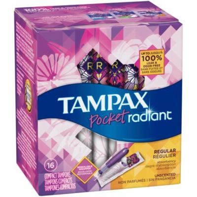 Tampax Pocket Radiant Regular Unscented Compact Tampons 16 ct