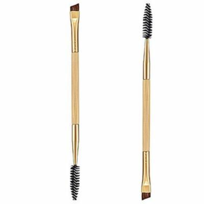 Lemonbest 2pcs Bamboo Handle Double Brushes Eyebrow Brush Makeup Tools Eyebrow Comb Make Up Brush