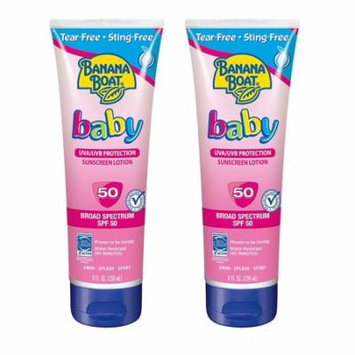 Banana Boat Baby UVA/UVB Protection Sunscreen Lotion, Broad Spectrum, SPF 50, 8 Oz (Pack of 2)