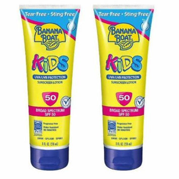 Banana Boat Kids UVA/UVB Protection Sunscreen Lotion, Broad Spectrum, SPF 50, 8 Oz (Pack of 2)