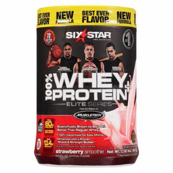 Six Star Elite Series Whey Protein+ Dietary Supplement Powder Strawberry Smoothie2.0 lb(pack of 4)