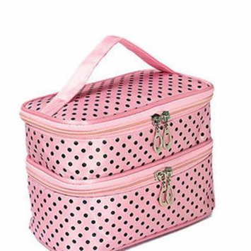 Multifunctional Double Layer Dot Pattern Travel Toiletry Cosmetic Bag Organizer With Mirror