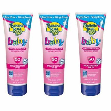 Banana Boat Baby UVA/UVB Protection Sunscreen Lotion, Broad Spectrum, SPF 50, 8 Oz (Pack of 3)