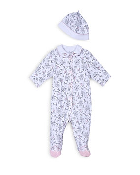 Little Me Baby Girls' 2-Piece Toile Coverall & Hat Set