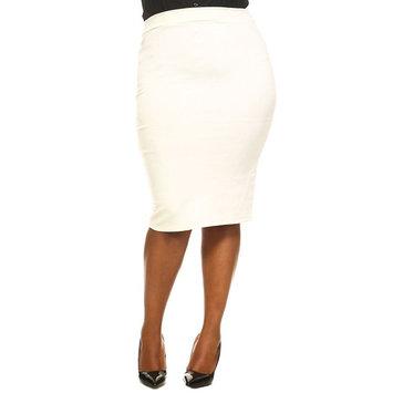 Womens Plus Size Solid Pencil Bodycon Stretch Midi Skirts S20875-XL-White