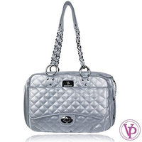 Vanderpump Pets Classic Quilted Luxury Pet Carrier Silver