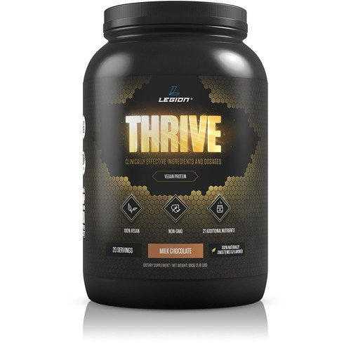Legion Thrive Vegan Protein Powder, Milk Chocolate - Hemp, Brown Rice, Pea, and Quinoa Plant Based Protein Blend. Gluten Free, GMO Free, Naturally Sweetened and Flavored, 20 Servings, 2.18 lbs