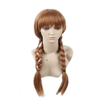 Princess Anna Brown Double Braids Fancy Dress Cosplay Wigs with Cap for Women