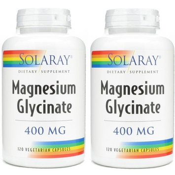Solaray Magnesium Glycinate 400 Mg - 120 Veg Capules (2 Pack)