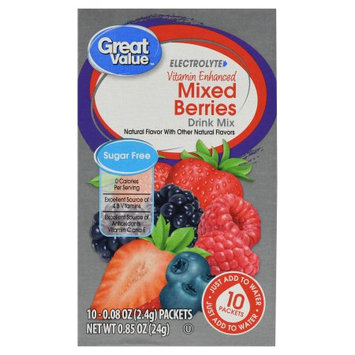 Wal-mart Stores, Inc. Great Value Vitamin Enhanced Fitness Drink Mix, Berry, 10 Count