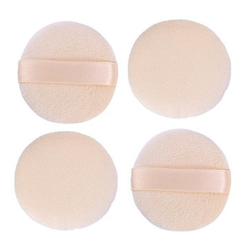 Frcolor 4pcs Face Powder Puff Soft Sponge Professional Loose Cosmetic Round Cotton