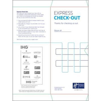 Holiday Inn Express Check-Out Sleeve, 1000 pack per unit
