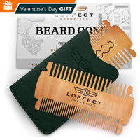 Beard comb for men POCKET comb MUSTACHES comb Wood beard comb SET Wooden mens beard comb Black hair mens combs Dual Bristle Widths ANTI-Static LEATHER case No Curls &Tangles Gift CARD Best deal