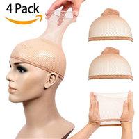 STfantasy 4 Pack Wig Caps for Women Elastic Mesh Open End Wig Net Hairnet Snood Hair Wig Weaving Cap Netural Nude Beige