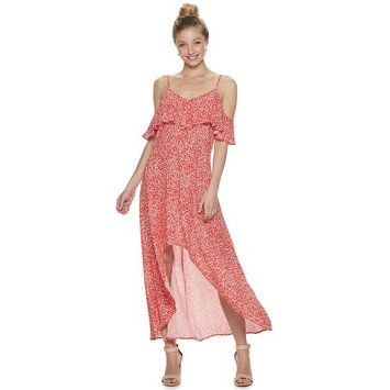 Juniors' Rewind High-Low Cold-Shoulder Maxi Dress