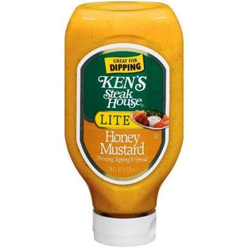 Ken's Steak House LITE Honey Mustard - 24 oz Squeezable Bottle - (Pack of 6)