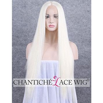 Chantiche Glueless Synthetic Lace Front Wigs - White Blonde Long Silky Straight Hair Wig with Middle Parting for Women 24inches