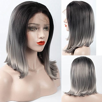 Lace Front Wigs Short Straight Bob Synthetic Wig Silver 2 Tone Gray Ombre Wig ZeroBlizzard Synthetic Lace Front Wigs Pre Plucked Wig With Baby Hair and Bleached Knots for Women 16 Inches
