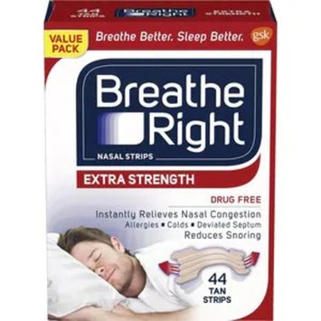 Breathe Right Extra Tan Drug-Free Nasal Strips for Nasal Congestion Relief, 44 CT