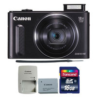Canon PowerShot SX610 HS 20.2MP 18x Optical Zoom Wifi Digital Camera BLACK with 16GB Memory Card