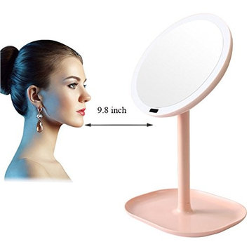 Carejoy 5X Magnifying Makeup Mirror Motion Sensor Vanity Mirror with 30pcs leds 360 Degree Rotation Infrared Induction Lighted Mirror Pink Table Countertop