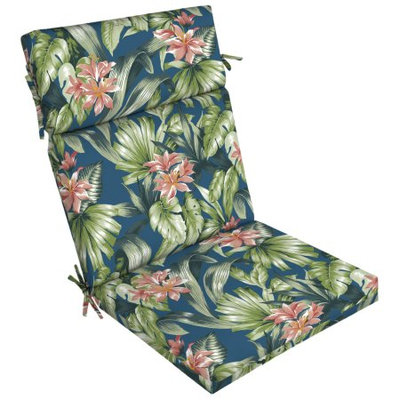 Arden Companies Better Homes and Gardens Outdoor Patio Dining Chair Cushion, Teal Island Tropical