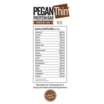 Pegan Protein Bar (Chocolate Lava) 12 Bars (20g Organic Plant Protein) (1 Net Carb 1g Sugar) VeganⓋ