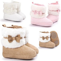 Baby Shoes, Rcool Baby Bowknot Keep Warm Soft Sole Snow Boots Soft Crib Shoes Toddler Boots [Khaki, 2 UK Child]