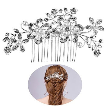 TINKSKY Bridal Hair Combs Hair Slides Pearls Decor Flower Hair Decoration(Silver)