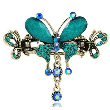Tvoip Retro National Style Hair Clip Alloy Water Drill Crab Butterfly Grip Clip Headgear