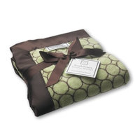 SwaddleDesigns Stroller Blanket, Cozy Microfleece, Brown Mod Circles on Lime with Satin Trim